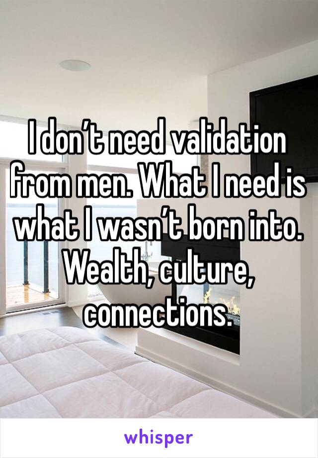 I don't need validation from men. What I need is what I wasn't born into. Wealth, culture, connections.