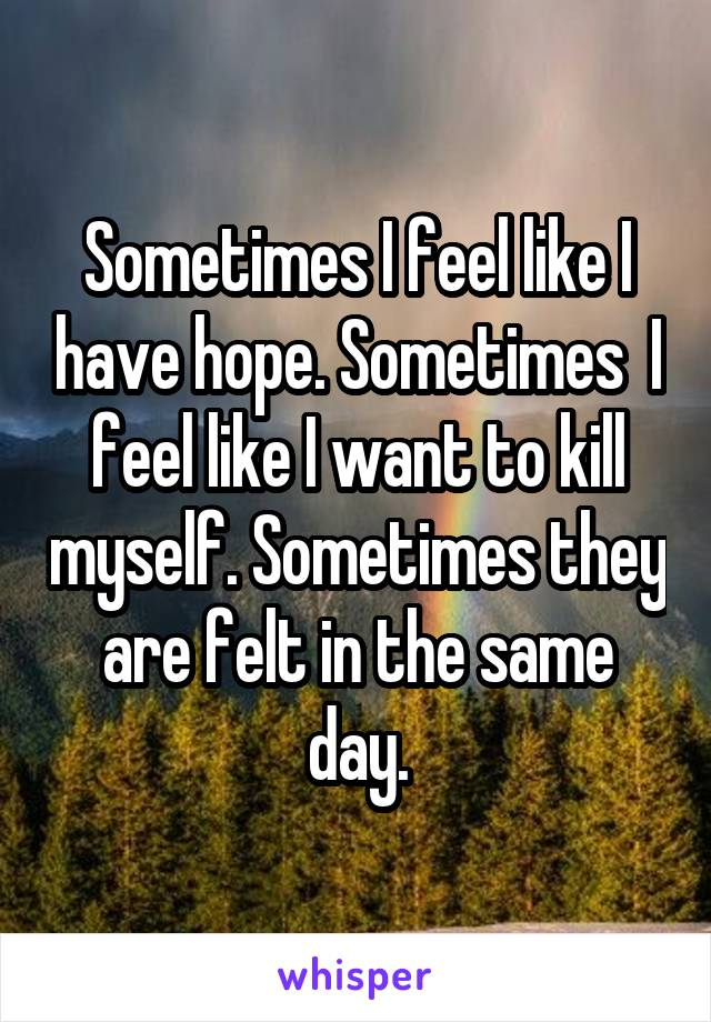 Sometimes I feel like I have hope. Sometimes  I feel like I want to kill myself. Sometimes they are felt in the same day.