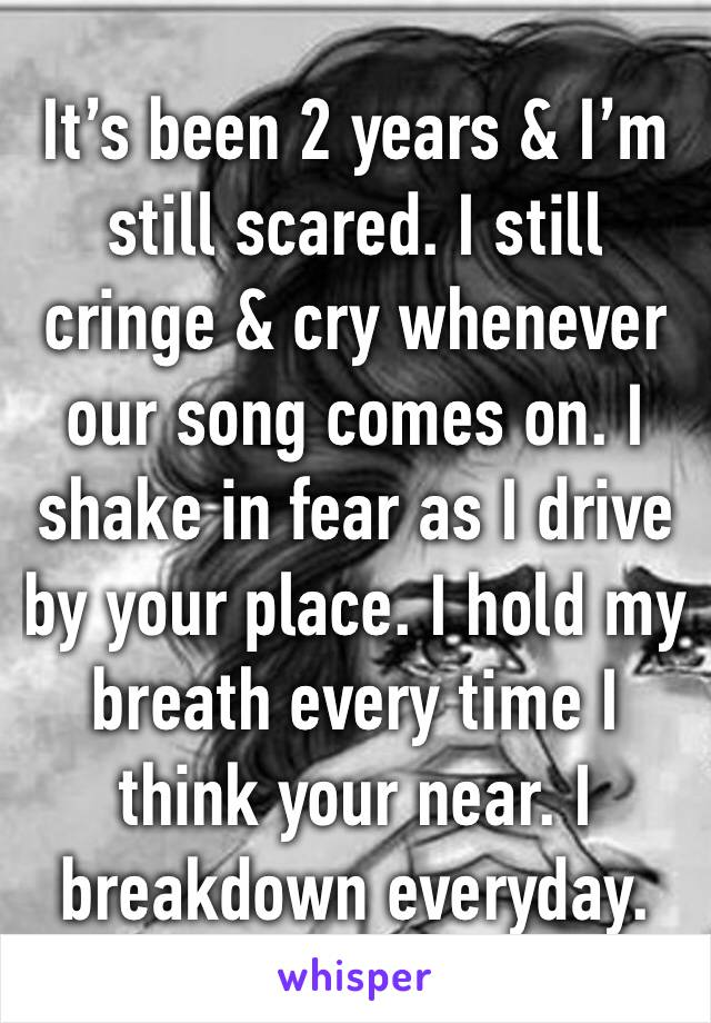 It's been 2 years & I'm still scared. I still cringe & cry whenever our song comes on. I shake in fear as I drive by your place. I hold my breath every time I think your near. I breakdown everyday.