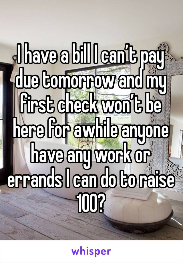 I have a bill I can't pay due tomorrow and my first check won't be here for awhile anyone have any work or errands I can do to raise 100?