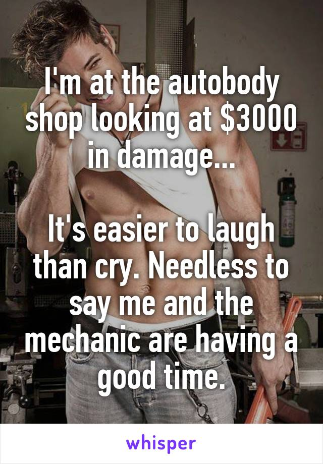 I'm at the autobody shop looking at $3000 in damage...  It's easier to laugh than cry. Needless to say me and the mechanic are having a good time.
