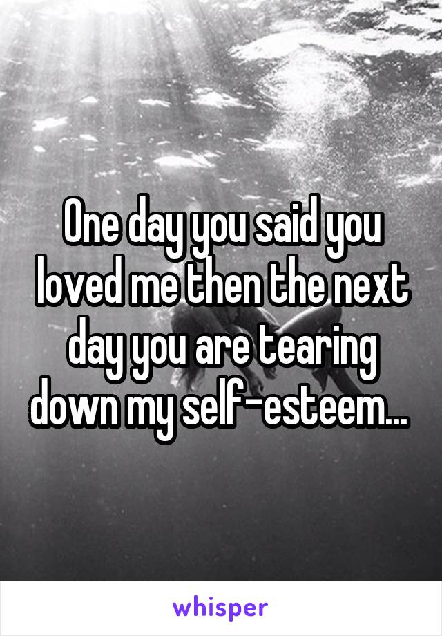 One day you said you loved me then the next day you are tearing down my self-esteem...
