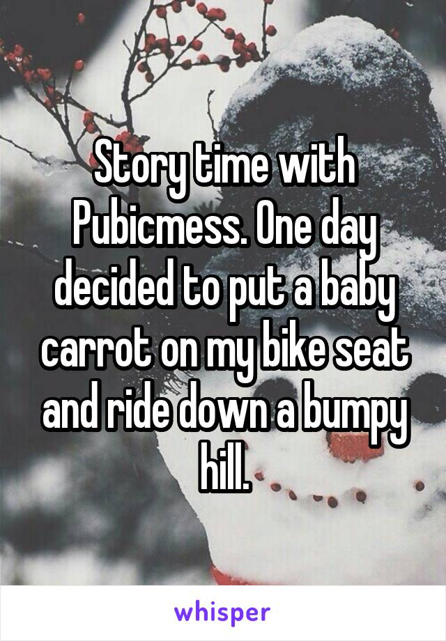 Story time with Pubicmess. One day decided to put a baby carrot on my bike seat and ride down a bumpy hill.