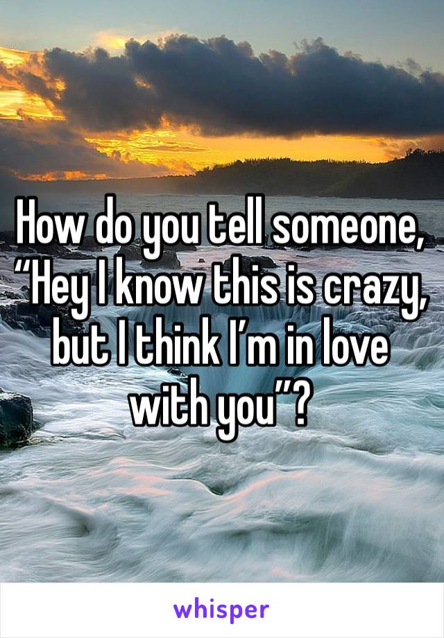 "How do you tell someone, ""Hey I know this is crazy, but I think I'm in love with you""?"
