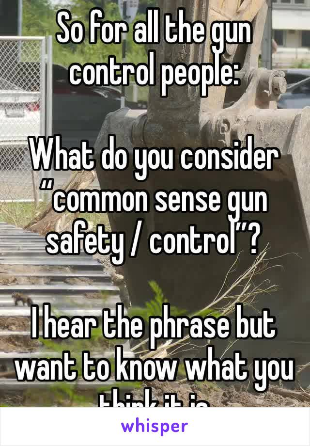 "So for all the gun control people:   What do you consider ""common sense gun safety / control""?  I hear the phrase but want to know what you think it is"