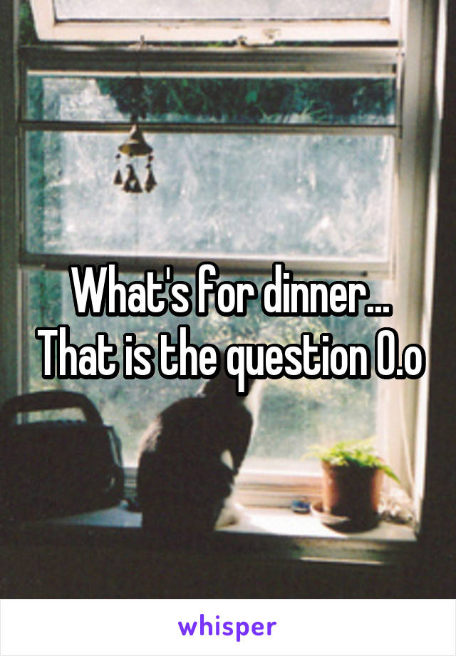 What's for dinner... That is the question 0.o