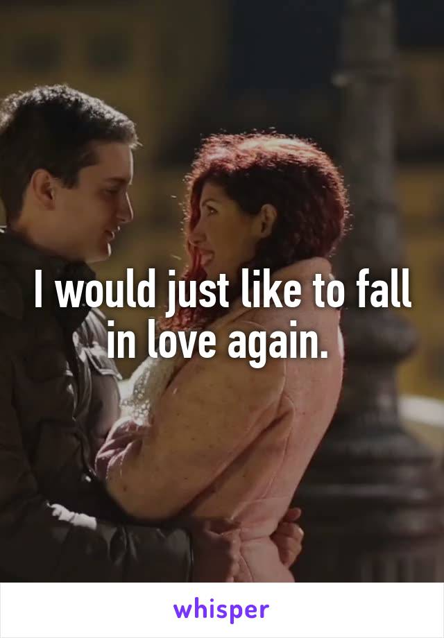 I would just like to fall in love again.
