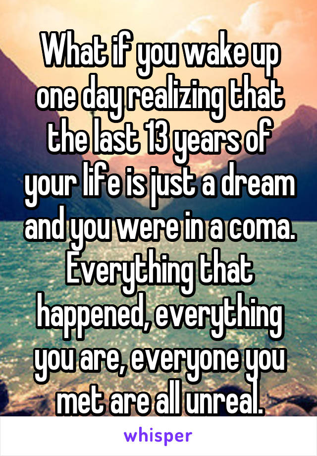 What if you wake up one day realizing that the last 13 years of your life is just a dream and you were in a coma. Everything that happened, everything you are, everyone you met are all unreal.