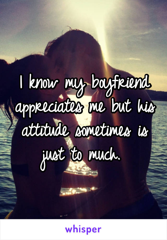 I know my boyfriend appreciates me but his attitude sometimes is just to much.