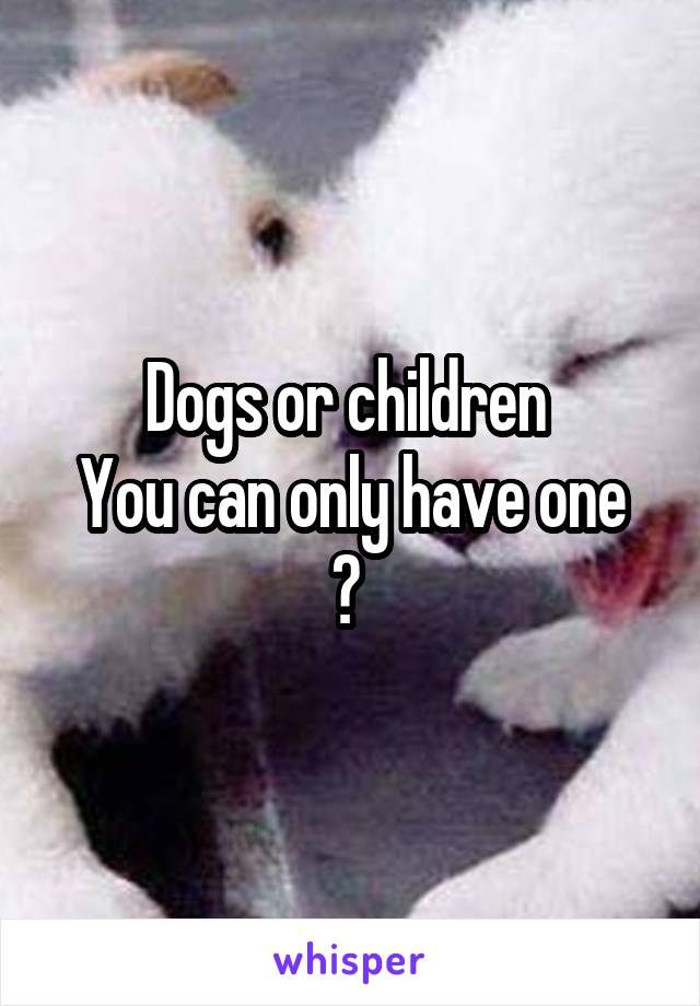 Dogs or children  You can only have one ?