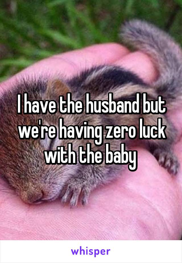 I have the husband but we're having zero luck with the baby