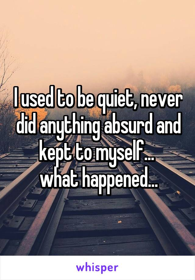 I used to be quiet, never did anything absurd and kept to myself...  what happened...
