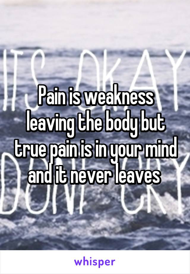Pain is weakness leaving the body but true pain is in your mind and it never leaves