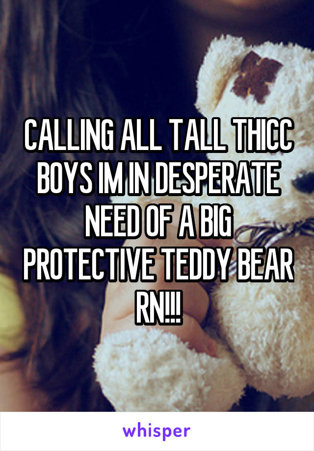 CALLING ALL TALL THICC BOYS IM IN DESPERATE NEED OF A BIG PROTECTIVE TEDDY BEAR RN!!!