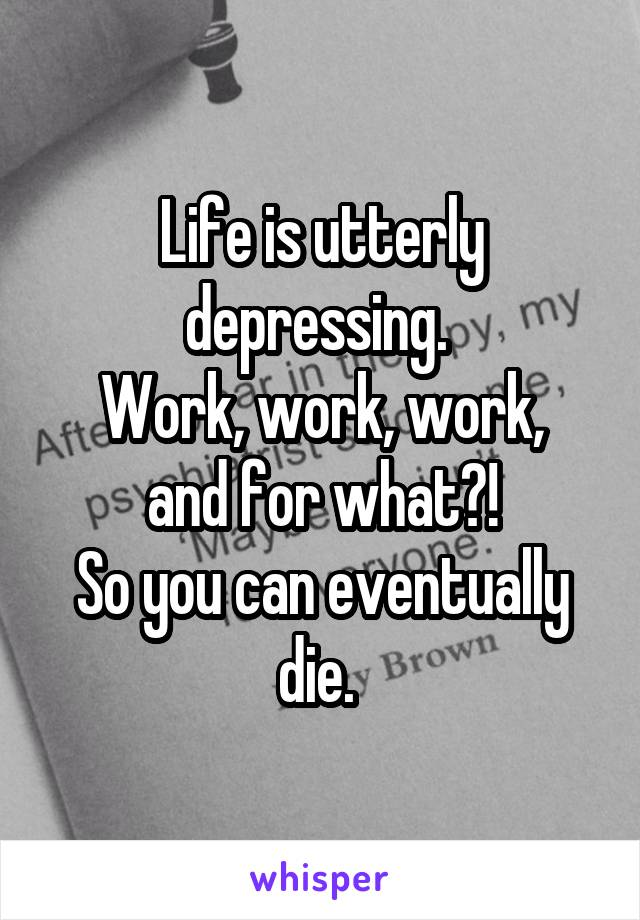 Life is utterly depressing.  Work, work, work, and for what?! So you can eventually die.