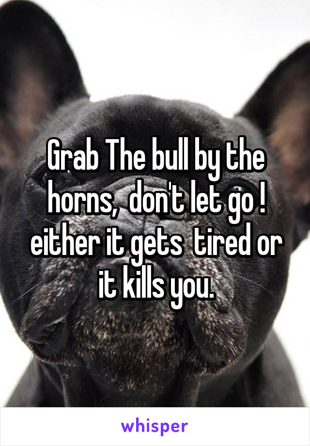 Grab The bull by the horns,  don't let go ! either it gets  tired or it kills you.