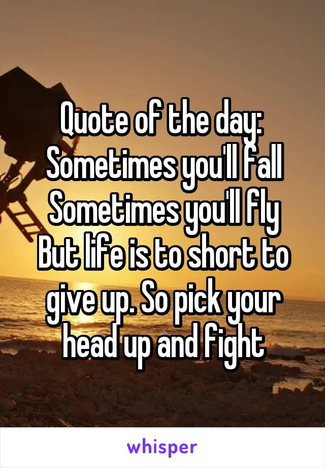 Quote of the day:  Sometimes you'll fall Sometimes you'll fly But life is to short to give up. So pick your head up and fight