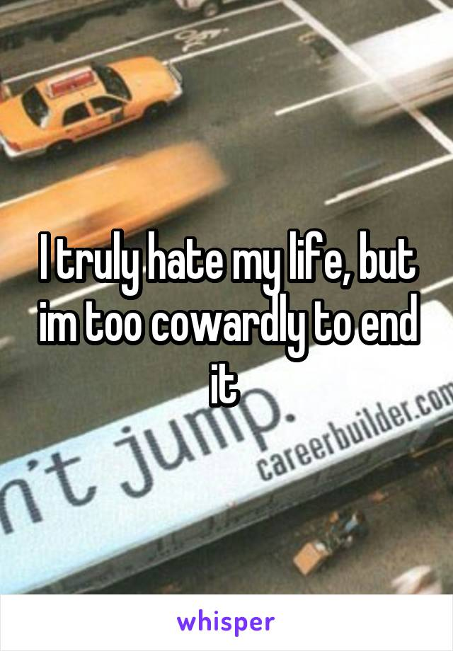 I truly hate my life, but im too cowardly to end it
