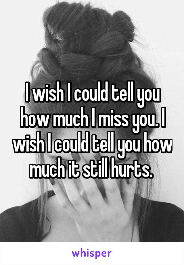I wish I could tell you how much I miss you. I wish I could tell you how much it still hurts.