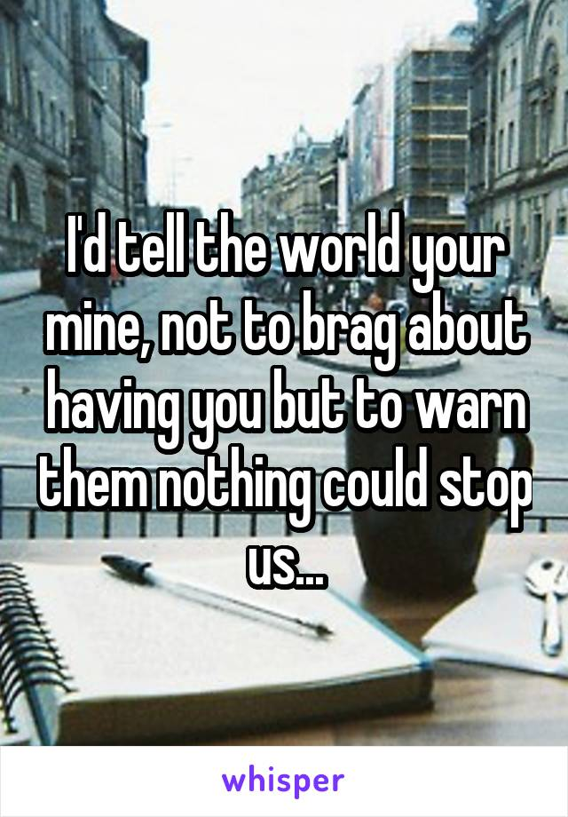I'd tell the world your mine, not to brag about having you but to warn them nothing could stop us...