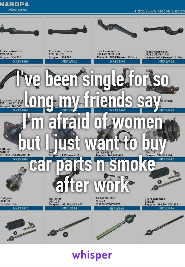 I've been single for so long my friends say I'm afraid of women but I just want to buy car parts n smoke after work