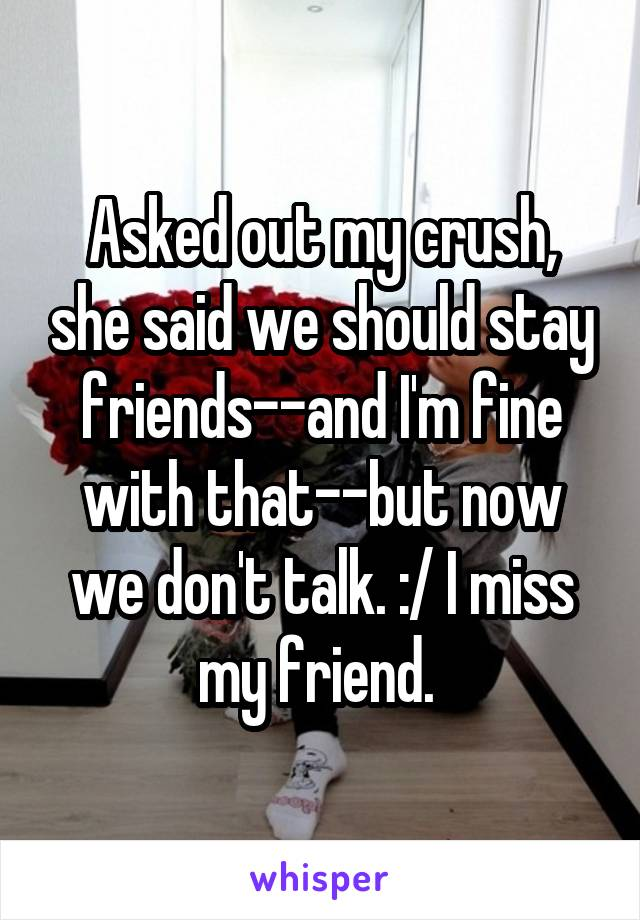 Asked out my crush, she said we should stay friends--and I'm fine with that--but now we don't talk. :/ I miss my friend.