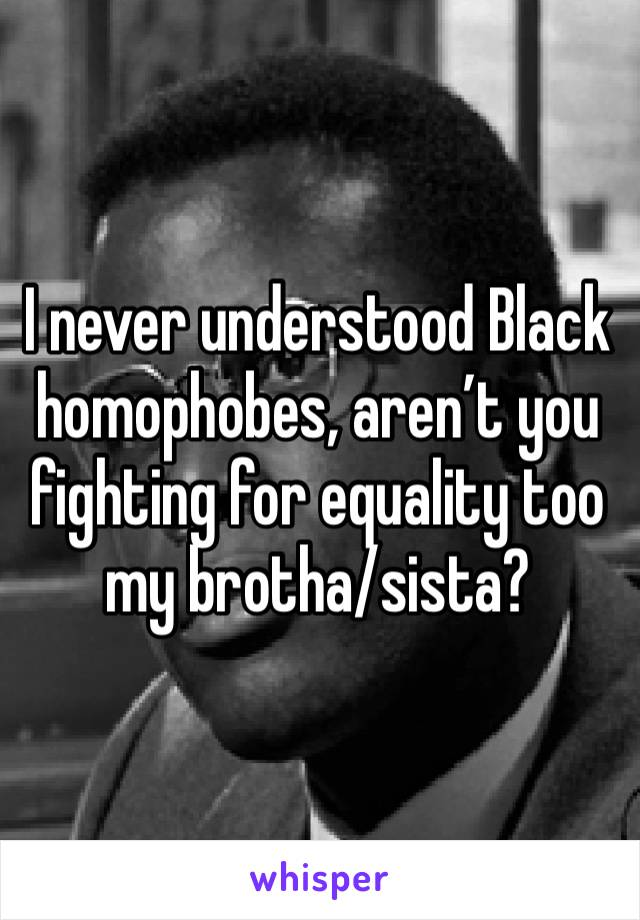 I never understood Black homophobes, aren't you fighting for equality too my brotha/sista?