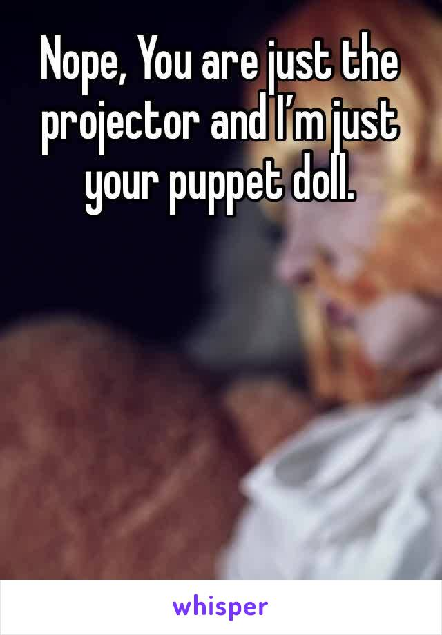 Nope, You are just the projector and I'm just your puppet doll.