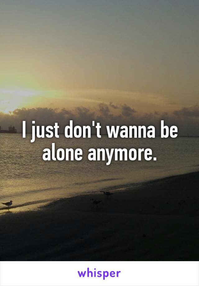 I just don't wanna be alone anymore.