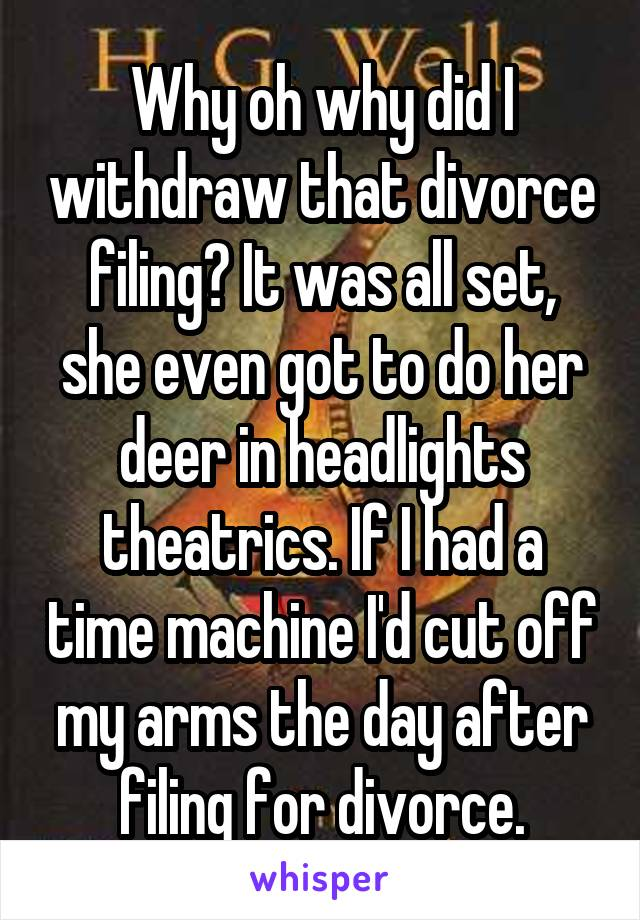 Why oh why did I withdraw that divorce filing? It was all set, she even got to do her deer in headlights theatrics. If I had a time machine I'd cut off my arms the day after filing for divorce.