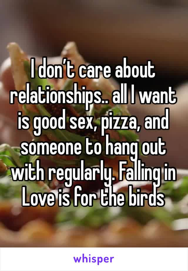 I don't care about relationships.. all I want is good sex, pizza, and someone to hang out with regularly. Falling in Love is for the birds