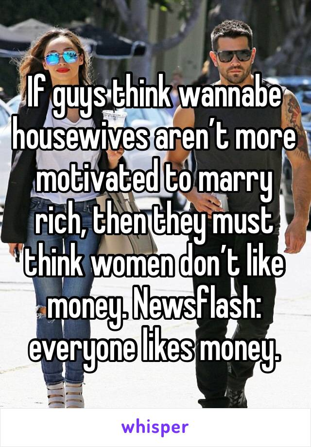 If guys think wannabe housewives aren't more motivated to marry rich, then they must think women don't like money. Newsflash: everyone likes money.