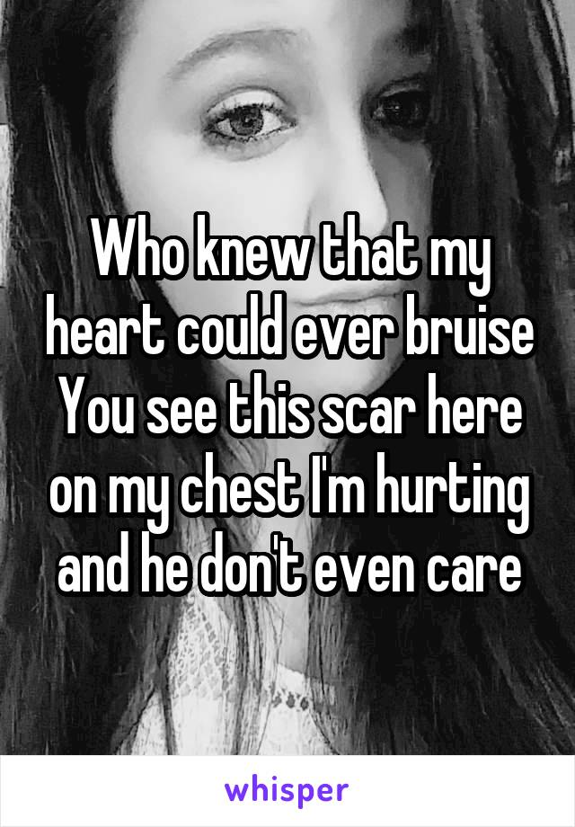 Who knew that my heart could ever bruise You see this scar here on my chest I'm hurting and he don't even care