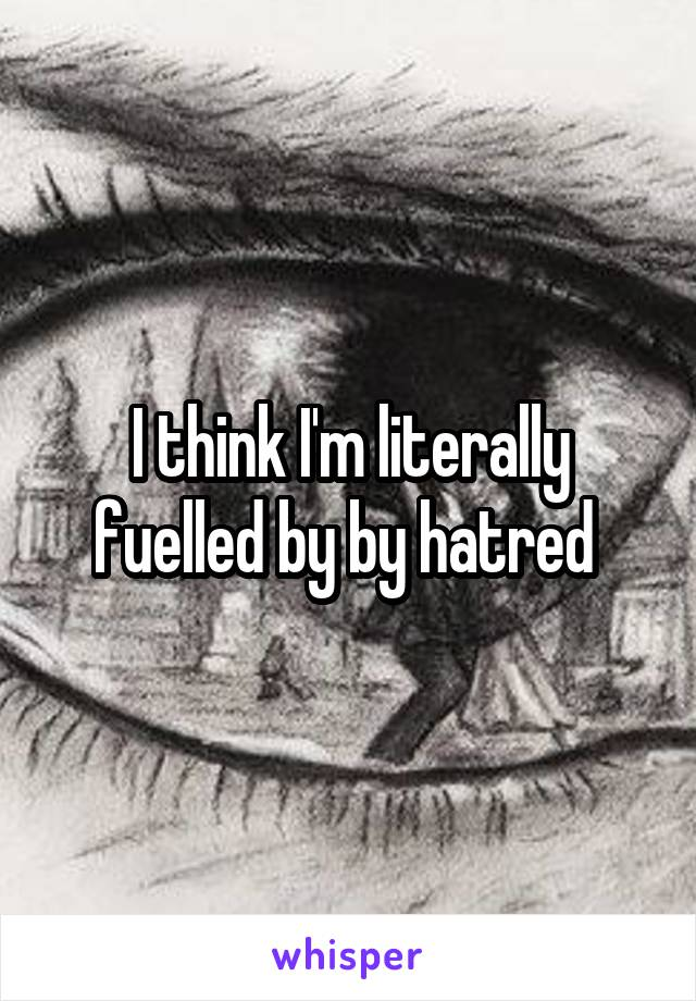I think I'm literally fuelled by by hatred
