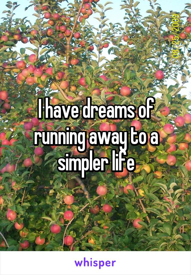 I have dreams of running away to a simpler life