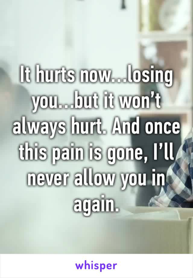 It hurts now…losing you…but it won't always hurt. And once this pain is gone, I'll never allow you in again.