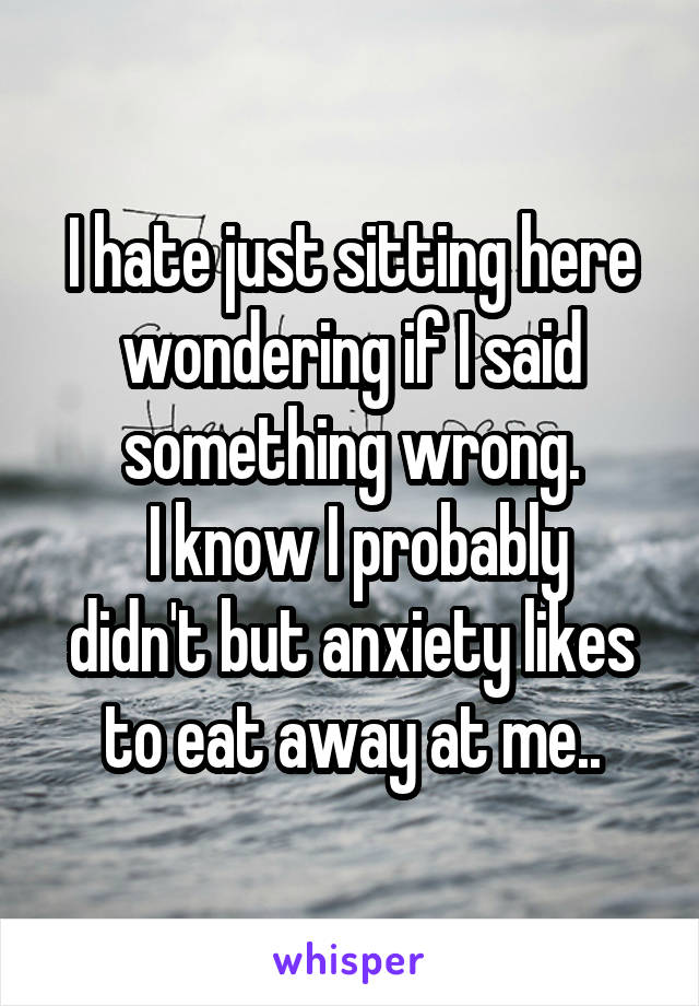 I hate just sitting here wondering if I said something wrong.  I know I probably didn't but anxiety likes to eat away at me..