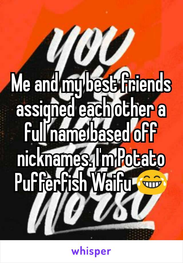 Me and my best friends assigned each other a full name based off nicknames. I'm Potato Pufferfish Waifu 😂