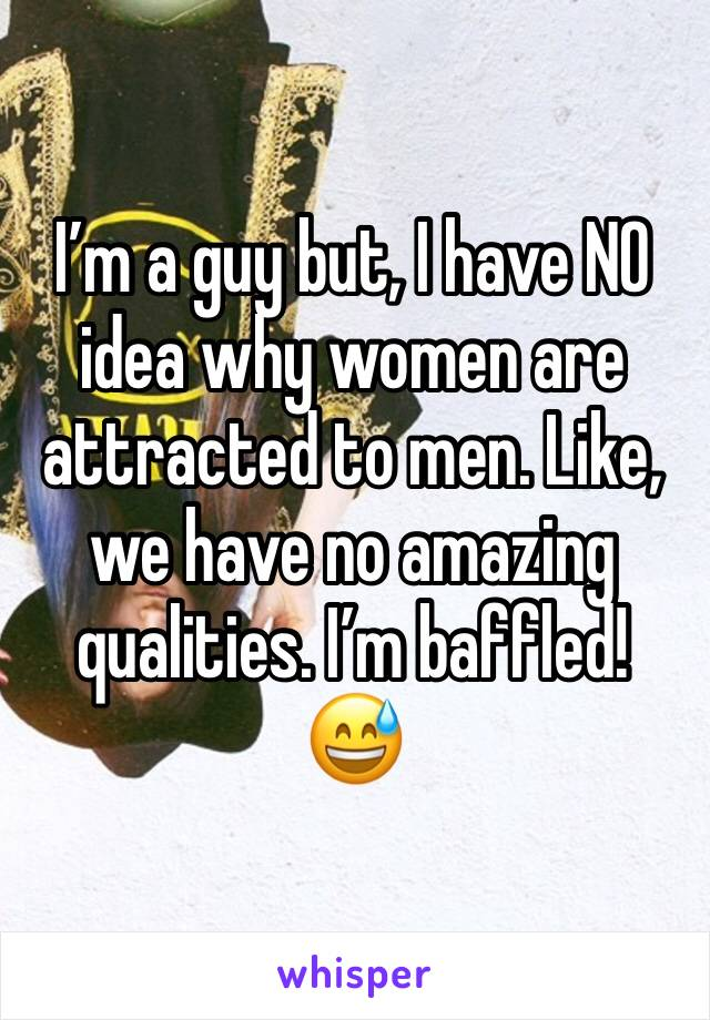 I'm a guy but, I have NO idea why women are attracted to men. Like, we have no amazing qualities. I'm baffled! 😅