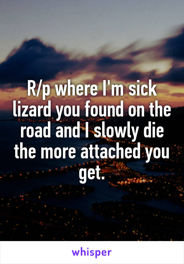 R/p where I'm sick lizard you found on the road and I slowly die the more attached you get.