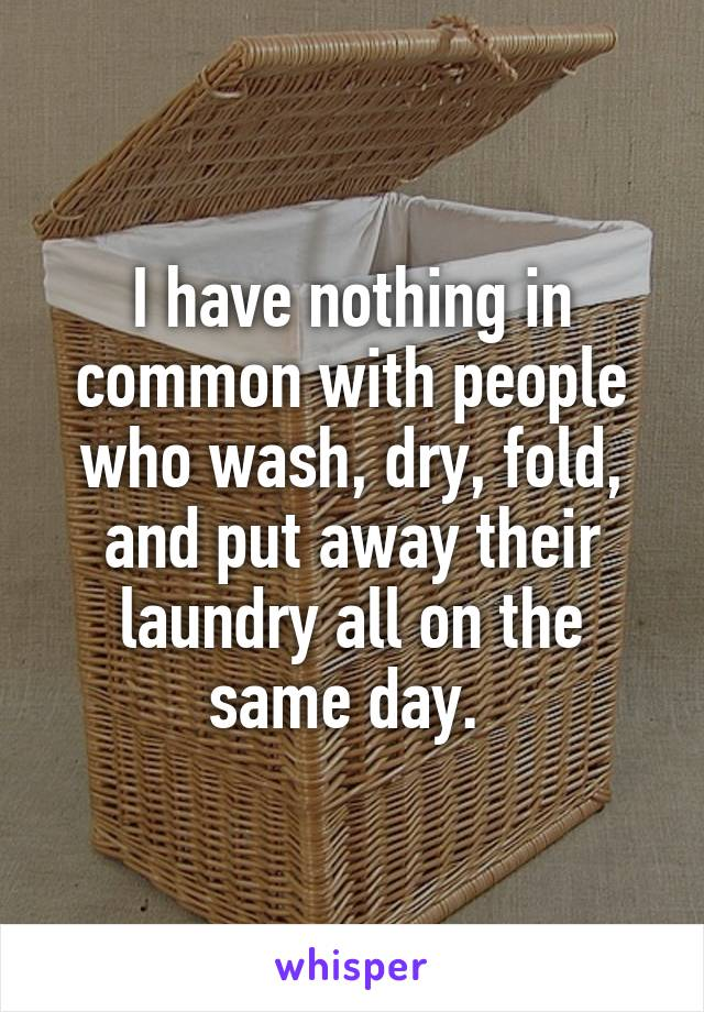 I have nothing in common with people who wash, dry, fold, and put away their laundry all on the same day.