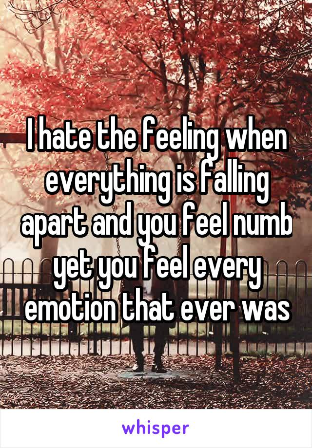 I hate the feeling when everything is falling apart and you feel numb yet you feel every emotion that ever was