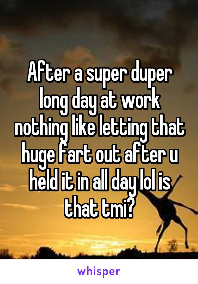 After a super duper long day at work nothing like letting that huge fart out after u held it in all day lol is that tmi?