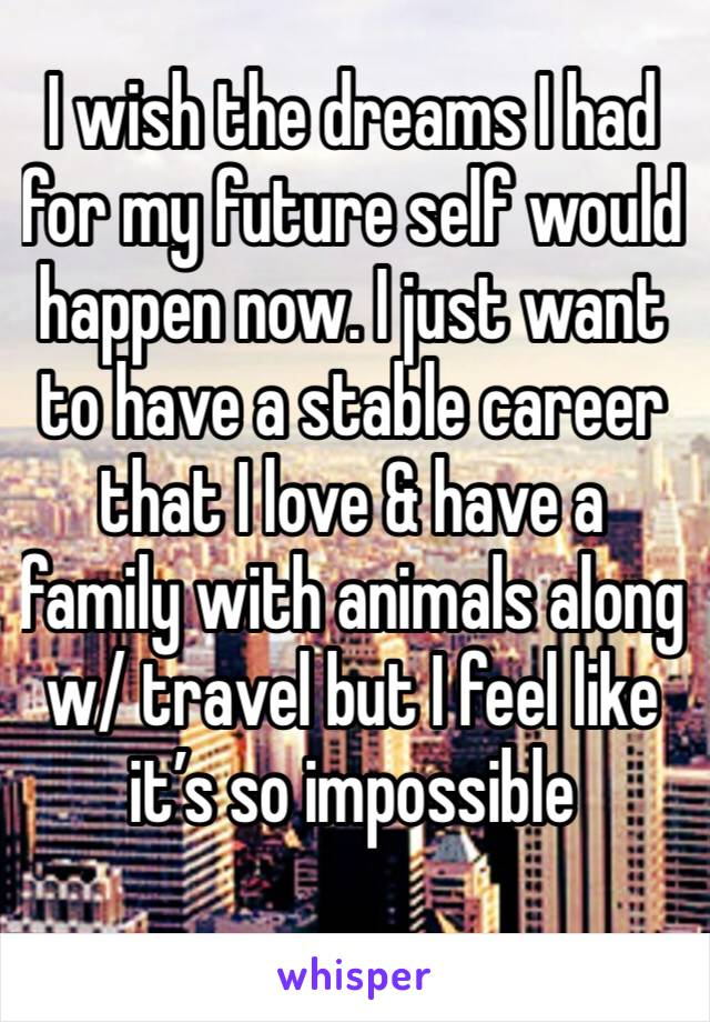 I wish the dreams I had for my future self would happen now. I just want to have a stable career that I love & have a family with animals along w/ travel but I feel like it's so impossible