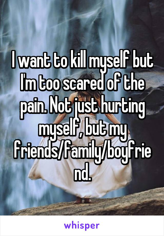 I want to kill myself but I'm too scared of the pain. Not just hurting myself, but my friends/family/boyfriend.