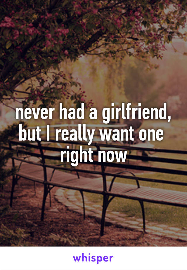 never had a girlfriend, but I really want one  right now
