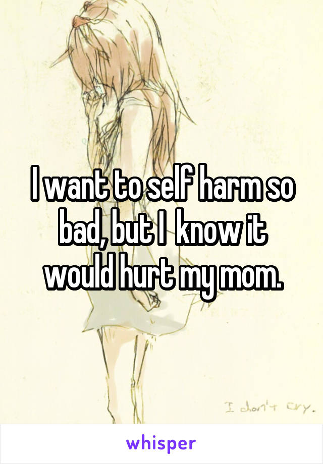 I want to self harm so bad, but I  know it would hurt my mom.