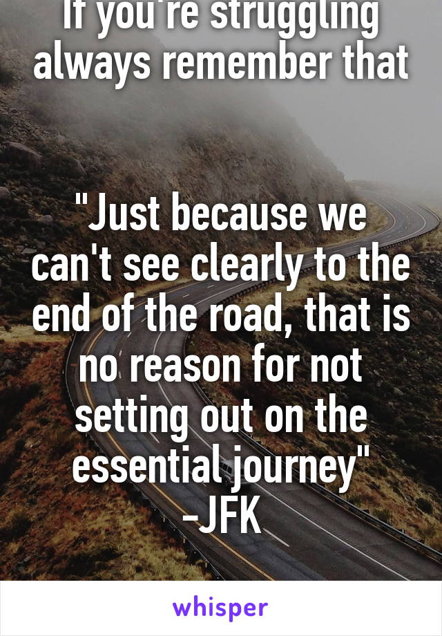 "If you're struggling always remember that   ""Just because we can't see clearly to the end of the road, that is no reason for not setting out on the essential journey"" -JFK  You can do it!"