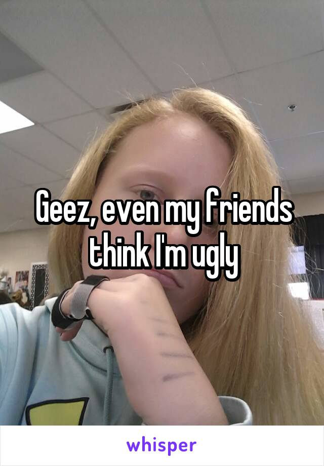 Geez, even my friends think I'm ugly