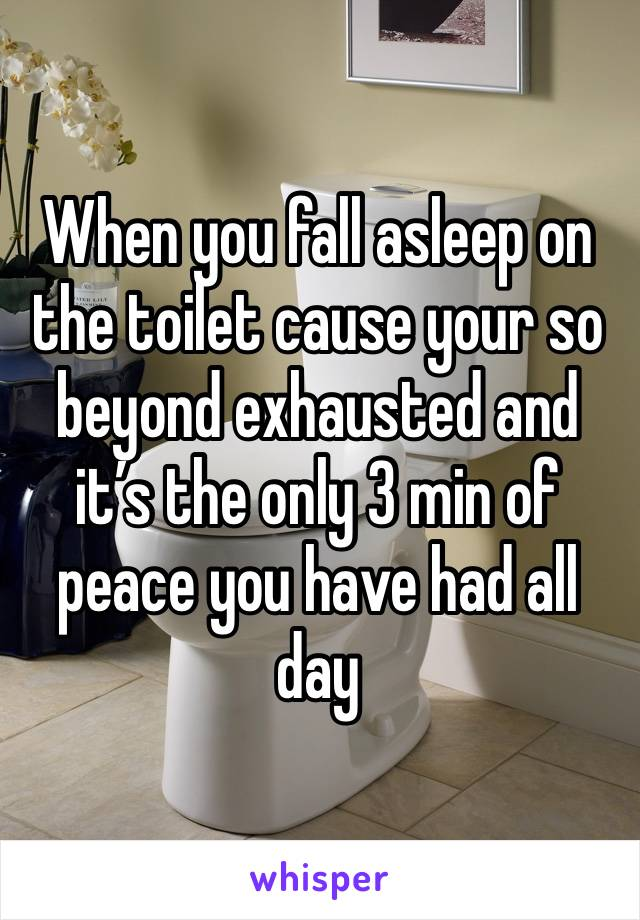 When you fall asleep on the toilet cause your so beyond exhausted and it's the only 3 min of peace you have had all day